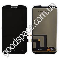 Дисплей Lenovo A560 с тачскрином в сборе, цвет черный, большая микросхема