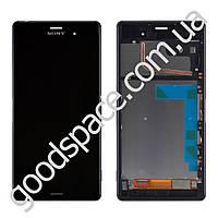 Дисплей Sony Xperia Z3 D6603, D6643 с тачскрином в сборе, с рамкой (цвет черный), большая микросхема