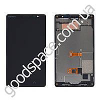 Дисплей Nokia X2 с тачскрином в сборе, с рамкой, цвет черный, большая микросхема