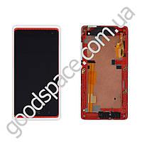 Дисплей HTC Desire 600 с тачскрином в сборе, цвет белый, в рамке