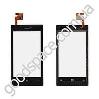 Тачскрин Nokia 520, 525 Lumia, цвет черный, с передней панелью, маленькая микросхема