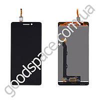 Дисплей Lenovo A7000 с тачскрином в сборе, цвет черный, большая микросхема, ТЕСТ ОК