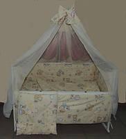 Детское постельное белье в кроватку бежевое Мишка пчелка на облаке Gold 9 в 1
