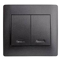 Выкл 2ной + Свет  OSCAR Черный (10шт) (Графитовый металик)