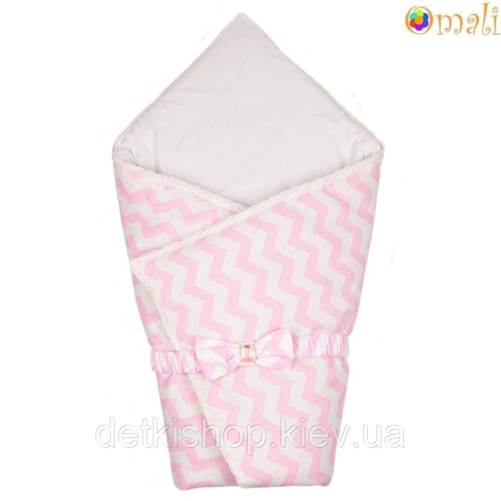Конверт-одеяло на выписку «Вернисаж» Omali (розовый зигзаг)