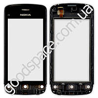 Тачскрин (сенсор) Nokia C5-03, C5-01, C5-04, C5-06 с рамкой, цвет черный