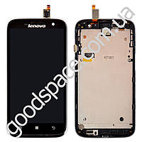 Дисплей Lenovo A859 (BTL507212) с тачскрином в сборе, с рамкой, цвет черный, маленькая микросхема