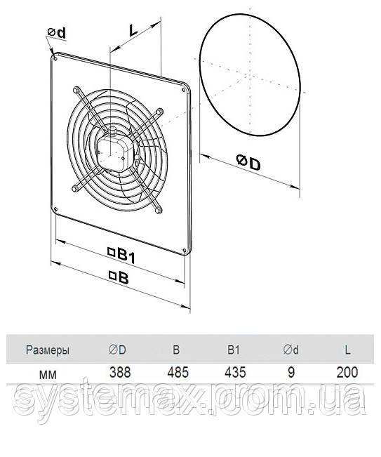 Размеры (параметры) вентилятора ВЕНТС ОВ 4Д 350