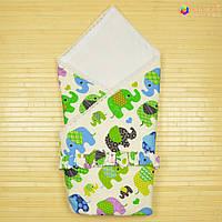 Конверт-одеяло на выписку «Вернисаж» Omali (зелёные слоники)
