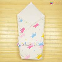 Конверт-одеяло на выписку «Вернисаж» Omali (разноцветные короны)