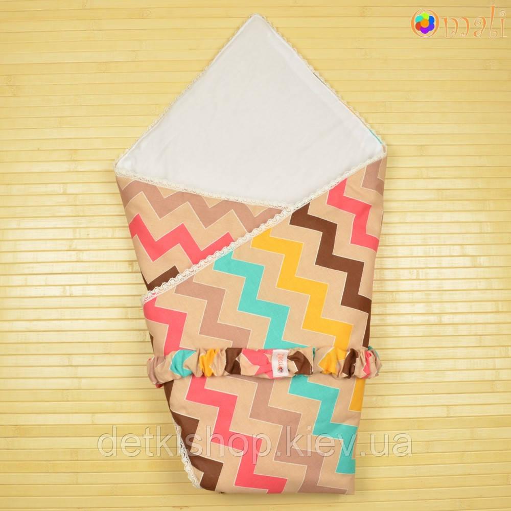 Конверт-одеяло на выписку «Вернисаж» Omali (зигзаг разноцветный)