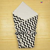 Конверт-одеяло на выписку «Вернисаж» Omali (чёрный зигзаг)