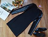 Платье футляр карандаш с кожаными рукавами, фото 4