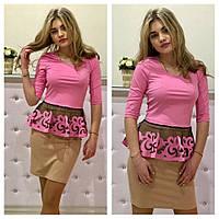 Костюм блузка с баской из перфорации и юбка карандаш разные цвета Km374