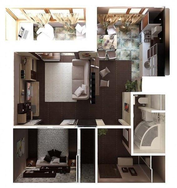Дизайн интерьера небольшой современной квартиры
