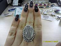Кольцо с натуральным камнем турмалиновый кварц в серебре.