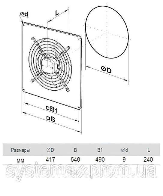 Размеры (параметры) вентилятора ВЕНТС ОВ 4Д 400