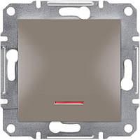 Выключатель одноклавишный с подсветкой Schneider-Electric Asfora EPH1400169 бронза