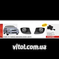 Противотуманные фары Vitol TY-370C-W Toyota Yaris Sedan 2009- эл.проводка