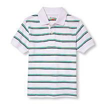 Поло белое в полоску с коротким рукавом на мальчика 5-6-7-8 лет. The Children's Place (США)