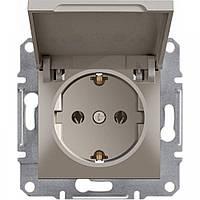 Розетка з/з немецкий ст. с крышкой Schneider Electric Asfora EPH3100169 бронза
