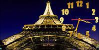 Настенные часы панорамные Париж (30х60 см), часы для дома, часы картина