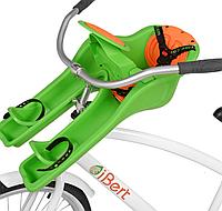 Велокресло iBert, переднее крепление, от 9 мес до 4-х лет, до 17 кг, 3-х точеные ремни, салатовое