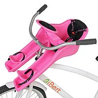 Велокресло iBert, переднее крепление, от 9 мес до 4-х лет, до 17 кг, 3-х точеные ремни, розовое