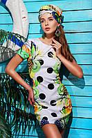 Яркое летнее платье фрукты-горох 46 размер