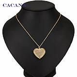 Подвеска на шею женская Сердце золотистое, фото 2