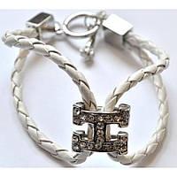 Белый браслет из кожзама в стиле Гермес