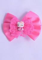 Заколка бантик с Hello Kitty ярко розового цвета G60011-1