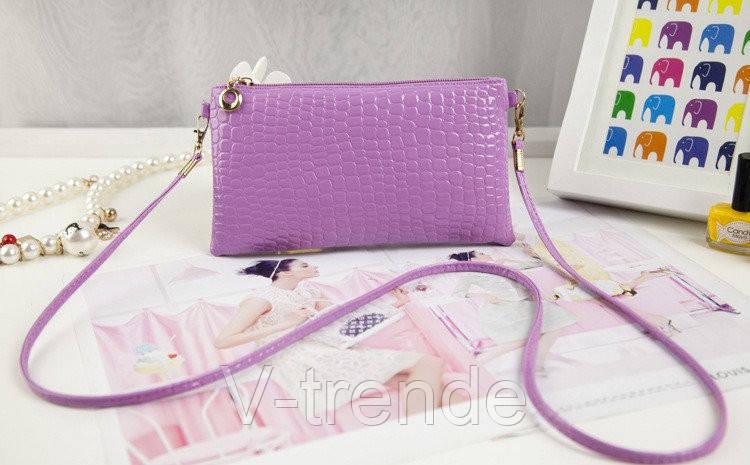 9fbc2ba5e420 Женская сумка-клатч под крокодиловую кожу сиреневый цвет: продажа ...