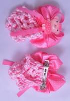 Заколка - сеточка на гульку с мишкой ярко розового цвета G60022-1