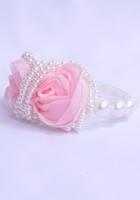 Заколка - зажим с жемчужинами и розами розового цвета G60075