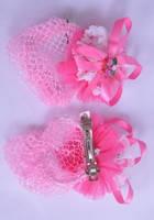 Заколка - сеточка на гульку ярко розового цвета G60083-1