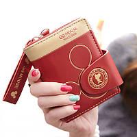 Женский кошелек QQ Mouse. Кошельки черного и красного цвета
