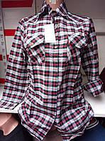 Женская молодежная хлопковая рубашка в клетку