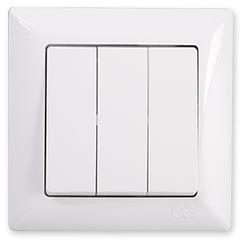 Gunsan Visage Выключатель трехклавишный белый