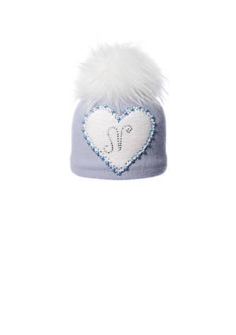 Милая шерстяная шапочка с аппликацией ручной роботы сердечко и помпоном, фото 2