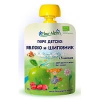 Детское Пюре Яблоко и Шиповник органическое, 90 гр, ТМ Fleur Alpine