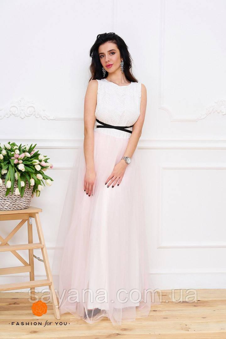 Женское красивое платье с ленточкой. Тс-3-0317