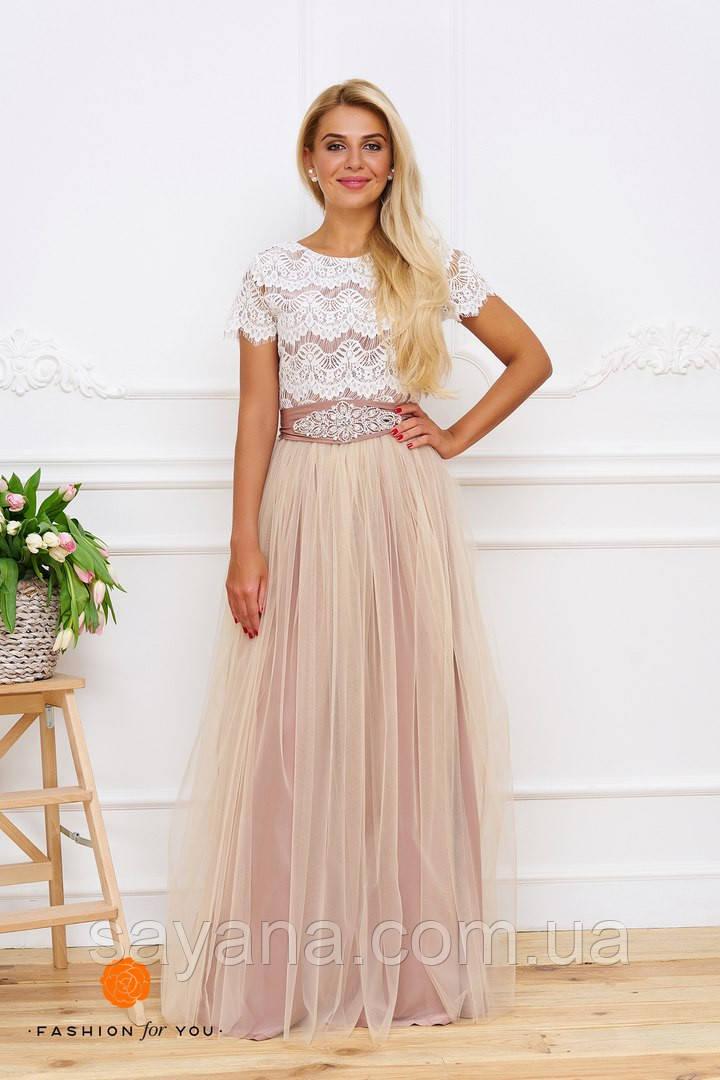 Женское красивое платье с украшением. Тс-10-0317