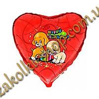 Фольгированные воздушные шары FLEXMETAL Испания, модель 201588, форма:сердце С днем рожденья Собачки, 18 дюймо