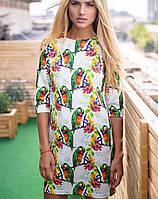 Платье с принтом попугая (2065 sk)
