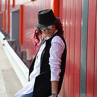 """Шляпа """"Трилби"""" чёрная из льна"""