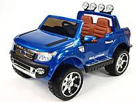 2х местный детский электромобиль FORD RANGER синий лакированный, кожа, 2 мотора, мощный аккумулятор