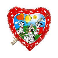 Фольгированные воздушные шары FLEXMETAL Испания, модель 201686, форма:сердце Пятнистое сердечко Далматинцы, 18