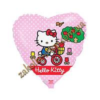 Фольгированные воздушные шары FLEXMETAL Испания, модель 201695, форма:сердце Китти на велосипеде (Hello Kitty)