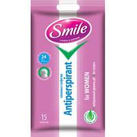 Влажные салфетки Smile Антиперспирант для женщин 15 шт.